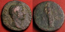 Ancient Coins - HADRIAN AE as. Salus standing, feeding serpent held in her arms