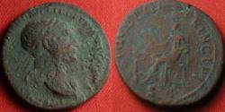 Ancient Coins - TRAJAN AE as. Pax seated left holding branch, kneeling Dacian at her feet.
