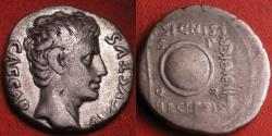 Ancient Coins - AUGUSTUS AR silver denarius. Shield between eagle and standard, Colonia Patricia. Commemorating the SIGNIS RECEPTIS & clipeus virtutis award to Augustus