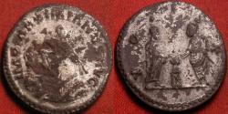 Ancient Coins - MAXIMIANUS AE silvered antoninianus. VOTIS X, Diocletian and Maximianus sacrificing together over altar. Rare type.