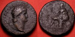 Ancient Coins - NERO AE orichalcum sestertius. ROMA seated left on cuirass