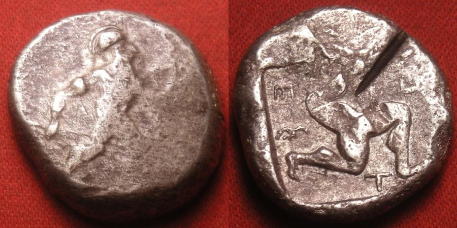 Ancient Coins - PAMPHYLIA, ASPENDOS, AR silver stater. 465-430 BC. Warrior, Triskeles
