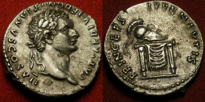 Ancient Coins - DOMITIAN, as Caesar under TITUS, AR silver denarius. Prince of the Youth, Corinthian helmet on throne.