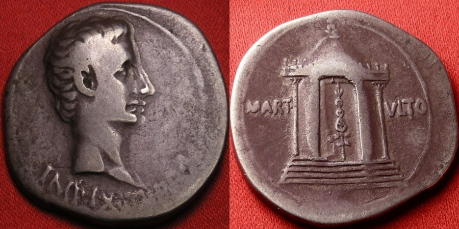 Ancient Coins - AUGUSTUS AR silver cistophorus (cistophoric tetradrachm). Temple of Mars Ultor, recovered Parthian standard within.