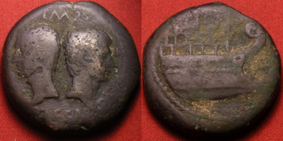 Ancient Coins - DIVUS JULIUS CAESAR & OCTAVIAN AE 'heavy dupondius'. Dual portrait issue. Prow of Galley on reverse. Struck at Colonia Viennensis, 36 BC.