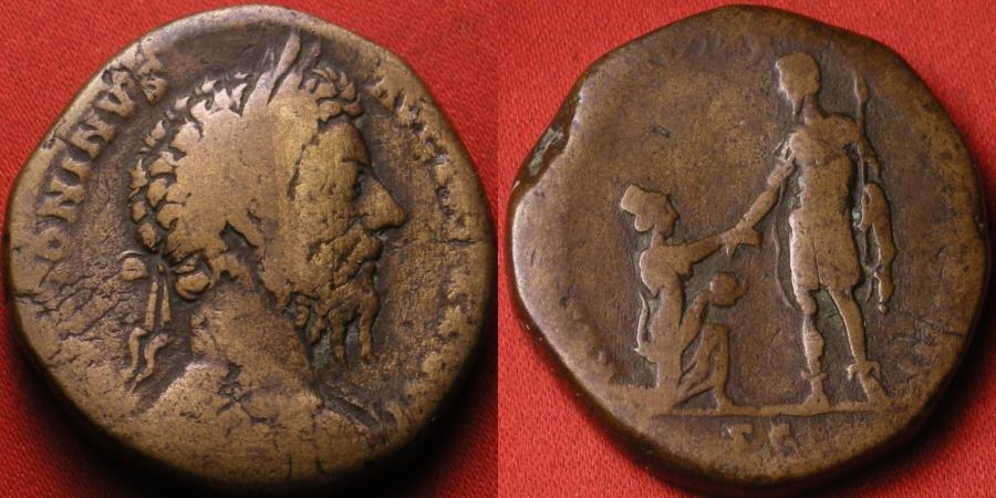 Ancient Coins - MARCUS AURELIUS AE sestertius. RESTITUTORI ITALIAE, Aurelius assisting Italia to her feet. Scarce