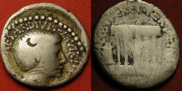 Ancient Coins - OCTAVIAN AR silver denarius. Temple of Divus Julius Caesar, statue within, comet above