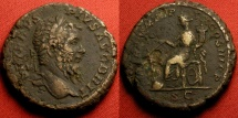 Ancient Coins - SEPTIMIUS SEVERUS AE as. Struck 211 AD, final year of Severus' reign. Fortuna seated left, holding rudder on globe.