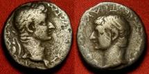 Ancient Coins - DRUSUS & TIBERIUS AR silver denarius (latin legend drachm). Caesarea, Cappadocia. Rare.