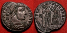 Ancient Coins - VETRANIO 25mm silvered AE2. HOC SIGNO VICTOR ERIS, By this sign you shall conquer! Vetranio holding standard with Chi-Ro, being crowned Victory. Extremely Fine
