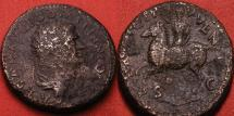 Ancient Coins - DOMITIAN, as Caesar under Vespasian, AE dupondius. PRINCIP IVVENT, togate Domitian on horseback