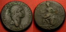 Ancient Coins - DOMITIAN AE dupondius. Imperial branch mint in Thrace, struck following Domitian's accession in 81 AD. Roma seated left.