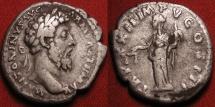 Ancient Coins - MARCUS AURELIUS AR silver denarius. Aequitas standing holding scales.