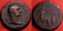 Ancient Coins - DOMITIAN AE orichalcum dupondius. ANNONA AVG, Annona seated, boy standing before her. Rare.