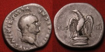 Ancient Coins - VESPASIAN AR silver denarius. Eagle standing on cippus. Sharp