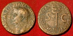 Ancient Coins - TIBERIUS AE as. Rome, 23-24 AD. Winged caduceus.