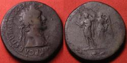 Ancient Coins - DOMITIAN AE orichalcum sestertius. Domitian being crowned by Victoria