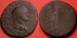 Ancient Coins - VESPASIAN AE 29mm 'as'. Stobi, Macedonia 'MVNICIPIVM STOBENSIVM'. Virtus or Roma standing, foot on helmet. Very rare.