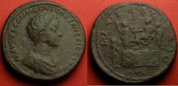 Ancient Coins - COMMODUS, as Caesar (not Imperator Caesar) under Marcus Aurelius. LIBERALITAS scene with Commodus distributing largesse. Rare. Very heavy 29.4g.