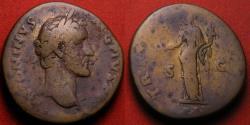 Ancient Coins - ANTONINUS PIUS AE sestertius. Pax standing, holding branch & cornucopia