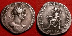 Ancient Coins - HADRIAN AR silver denarius. First year issue, Concordia seated, resting elbow on statue of Spes. Attractive