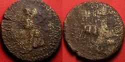 Ancient Coins - CALIGULA AE sestertius. ADLOCUTIO COH, Caligula addressing four soldiers. Praetorian guard donative. Rare.