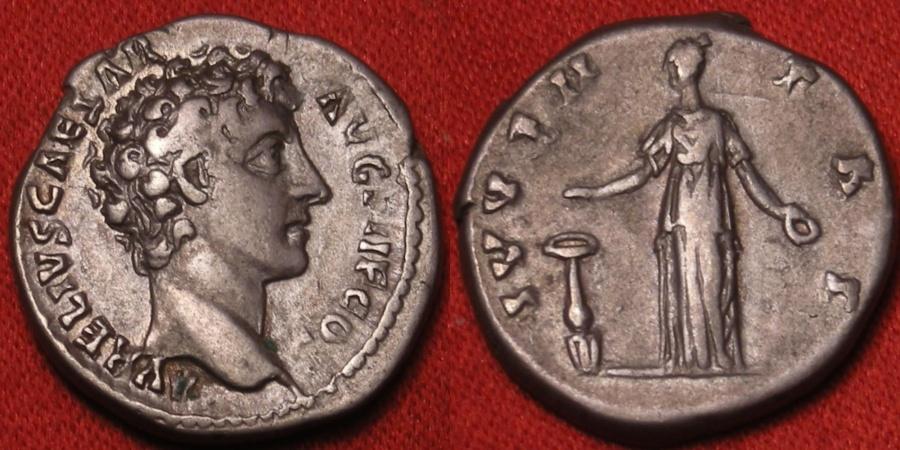 Ancient Coins - MARCUS AURELIUS CAESAR AR silver denarius. Juventas standing, dropping incense onto altar. Scarce.