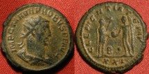 Ancient Coins - PROBUS AE antoninianus. Antioch mint. CLEMENTIA TEMP, Probus receiving globe from Jupiter.