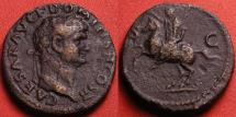Ancient Coins - DOMITIAN, as Caesar under Vespasian, AE as. Lugdunum mint, 77-78 AD. Domitian prancing on horseback. Judea Capta commemorative