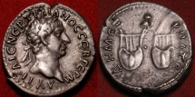 Ancient Coins - TRAJAN AR silver drachm. LYCIA, 98-99 AD. Two lyres, owl perched with one leg on each.