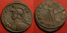 Ancient Coins - PROBUS AE antoninianus. Ticinum mint. HERCVLI PACIF, Hercules standing, holding olive branch, club & lion's skin