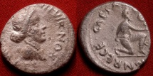 Ancient Coins - AUGUSTUS AR silver denarius. Kneeling Parthian, recovery of the standards. Scarce.
