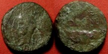 Ancient Coins - AUGUSTUS & AGRIPPA AE Dupondius, Nemausus Mint. Crocodile, chained to palm branch. Scarce