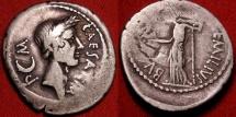 JULIUS CAESAR DICTATOR AR silver denarius. Lifetime portrait issue, 44 BC. L Aemilius Buca. Venus standing, holding Victory