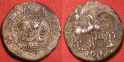 Ancient Coins - M ACILIUS AR silver denarius. 130 BC. Helmeted head of Roma with moneyer's name around. Hercules in quadriga