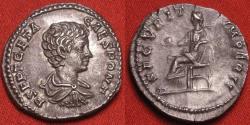 Ancient Coins - GETA, as Caesar, AR silver denarius. Securitas seated left. Lovely portrait