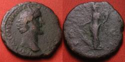 Ancient Coins - ANTONINUS PIUS AE as. Early type, 139 AD, with obv AEL CAES HADRI. Fortuna standing