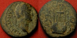 Ancient Coins - HADRIAN AE quadrans. Eastern type, 125-128 AD. LYRE, SC beside.