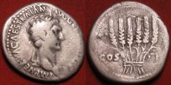 Ancient Coins - TRAJAN AR silver cistophorus. Ephesus. Six ears of corn/grain. Nice early portrait