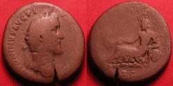 Ancient Coins - ANTONINUS PIUS AE sestertius. TIBERIS, Tiber, crowned with reeds, reclining.