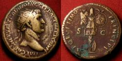 Ancient Coins - TRAJAN AE dupondius. Trophy, with two shields at base. Great reverse