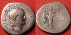 Ancient Coins - VESPASIAN AR silver denarius. Ephesus, 71 AD. PACI AVGVSTAE, Victory advancing left, Judea Capta series