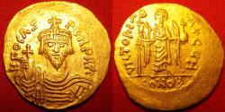 Ancient Coins - PHOCAS AU gold solidus. Constantinople. VICTORIA AVGG, Angel standing, facing.