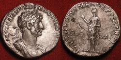 Ancient Coins - HADRIAN AR silver denarius. Rome, 117 AD, accession type with long legends. PIETAS standing. Scarce