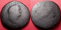 Ancient Coins - VESPASIAN AE sestertius. Rome, 71 AD. Fortuna standing, holding rudder & cornucopia.