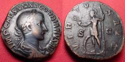 Ancient Coins - GORDIAN III AE sestertius. VIRTVS AVG, Virtus standing, holding branch & spear, shield at feet