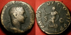 Ancient Coins - SEVERUS ALEXANDER AE sestertius. Rome, 228 AD. Pax advancing, holding branch & scepter.