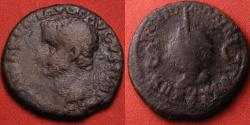 Ancient Coins - TIBERIUS AE as. Rome. Globe and rudder, 36-37 AD. TRIB POT XXXIIX