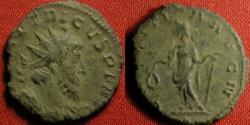 Ancient Coins - TETRICUS I AE antoninianus. LAETITIA AVG N, Laetitia standing, holding wreath & anchor.