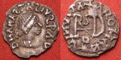 World Coins - GEPIDS AR silver quarter siliqua. Migration period. Struck in the name of Anastasius, INVICTA RVMANI around monogram of Theoderic.